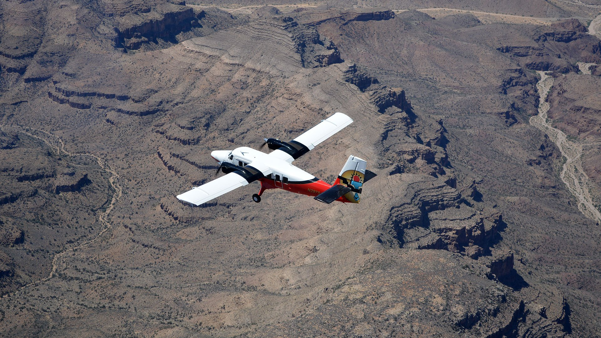 A Twin Otter plane during its flight over the Grand Canyon