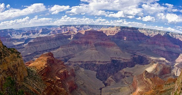 A panoramic photo of the Grand Canyon National Park.