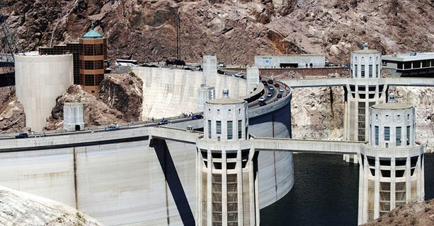 A view of the back of Hoover Dam.