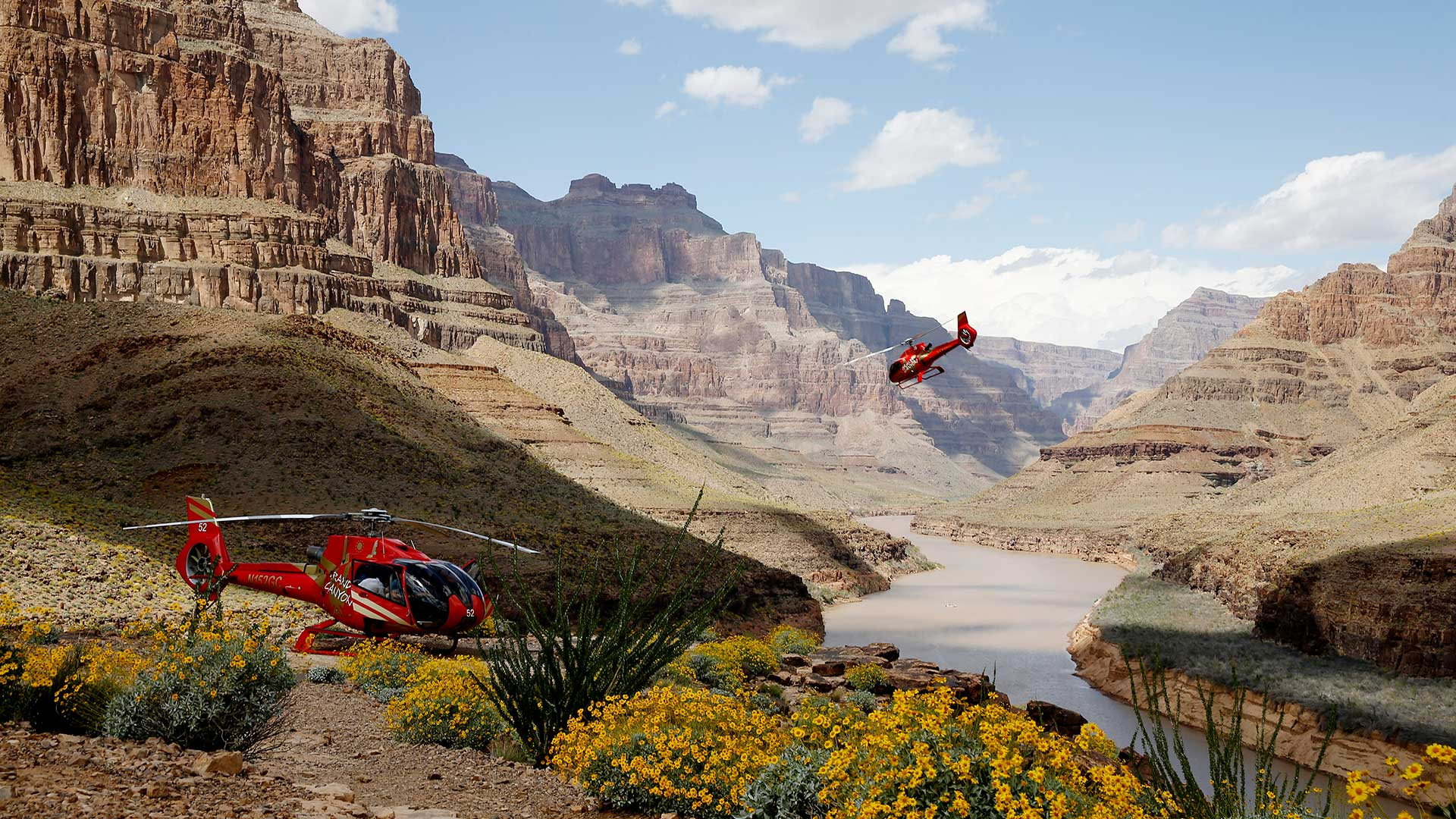 Two helicopters landing on the floor of the Grand Canyon West.