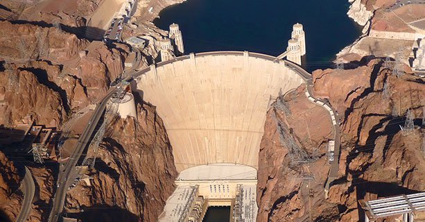 Aerial shot of the Hoover Dam