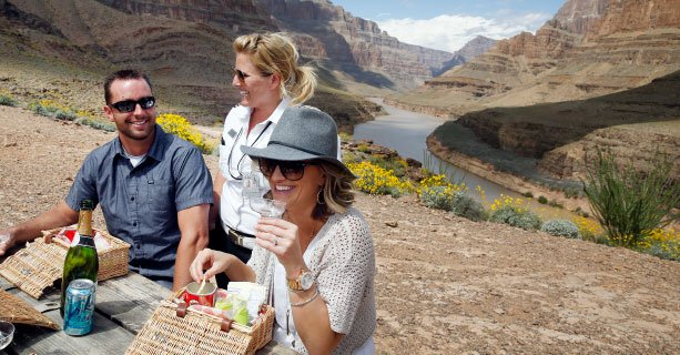 Guests enjoying a picnic at the Bottom of the Grand Canyon West Rim'