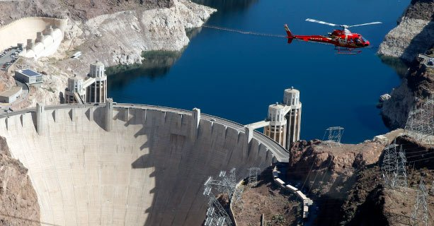 A helicopter flight over the Hoover Dam and Colorado River.