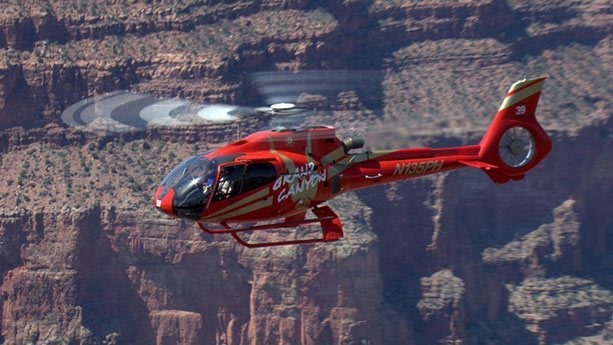 EC-130 helicopter landed at the bottom of the Grand Canyon