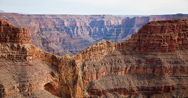 Eagle Point, a formation within the wall of the Grand Canyon West.