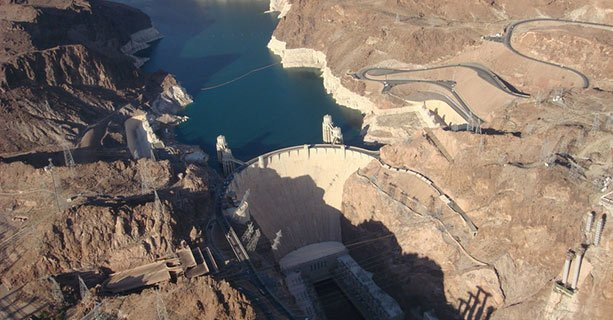 The Hoover Dam seen from above on a helicopter tour.'