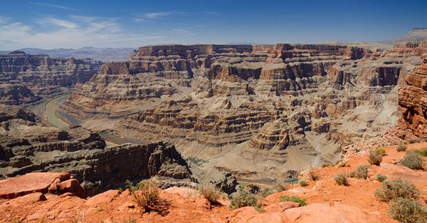 A panoramic view of the Grand Canyon and Colorado River.
