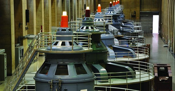 Several generators within Hoover Dam's interior.