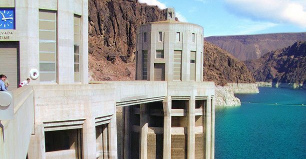 Hoover Dam's observation deck above the Colorado River.'