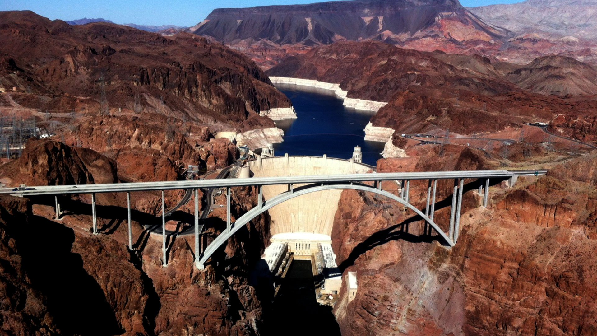 Aerial View of the Hoover Dam and the Mike O'Callaghan - Pat Tillman Memorial Bridge