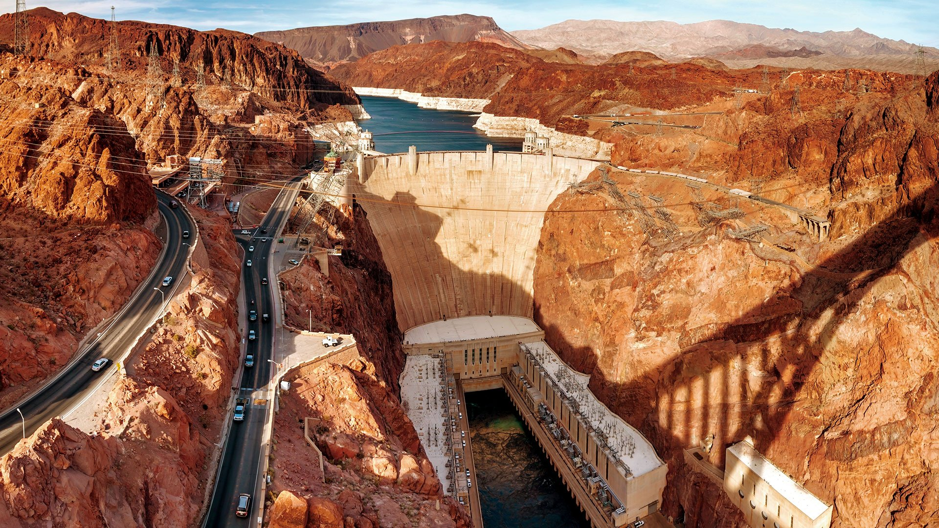 The Hoover Dam seen from the O'Callaghan-Tillman Memorial Bridge. Papillon air tours