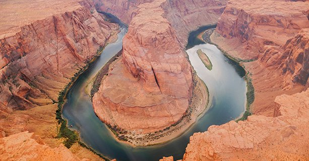 Horseshoe Bend and the Colorado River seen from above.