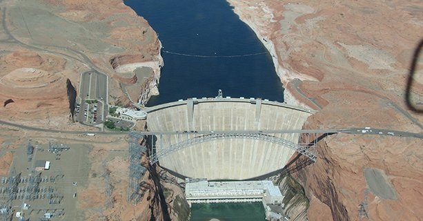 Glen Canyon Dam, as seen from the sky aboard a helicopter tour.