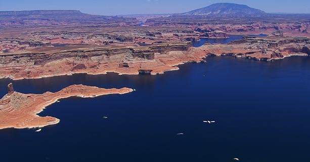 Lake Powell set against the stark desert landscape.