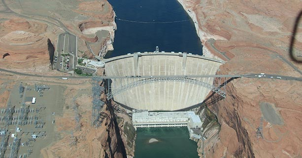 Aerial view of Glen Canyon Dam.