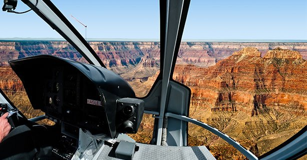 View of the Grand Canyon from the front windows of an EC-130 helicopter.