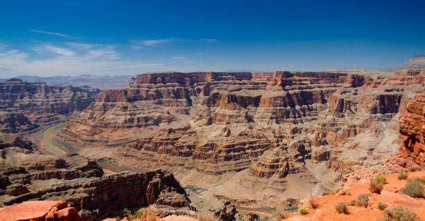 A panoramic view of the Grand Canyon West and Colorado River.