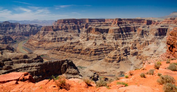 A Grand Canyon vista with the Colorado River below.'