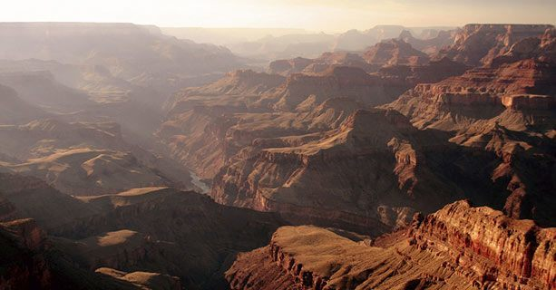 View of the misty expanse of the Grand Canyon National Park'