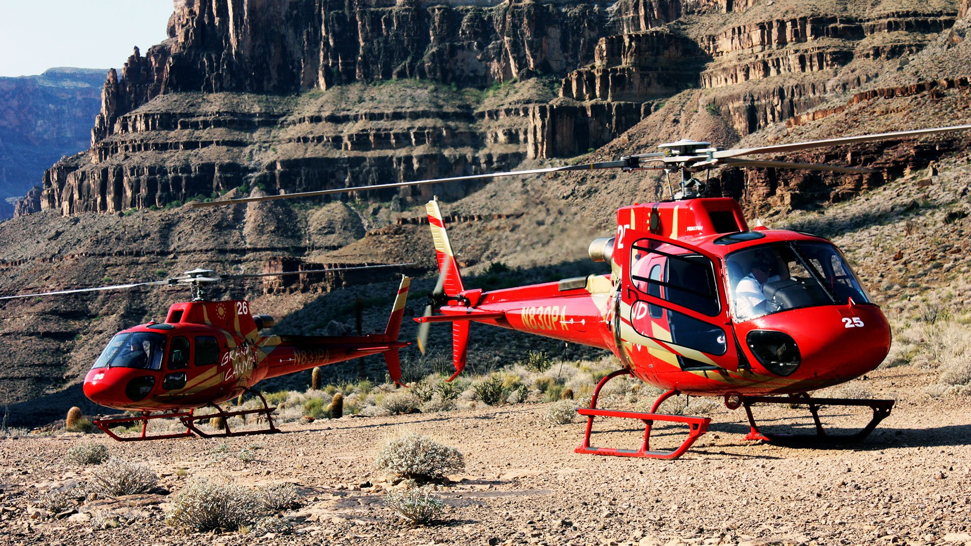 Two red EC-130 helicopters landed at the bottom of Grand Canyon West