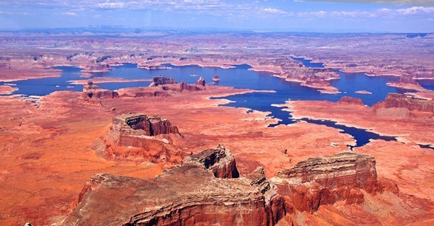 Desert scenery surrounding Lake Powell.