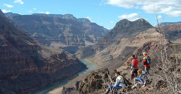 Guests exploring the nearby canyon scenery and the Colorado River.