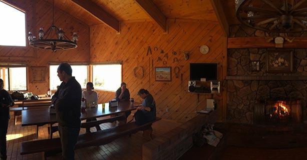 The cozy dining room inside Bar 10 Ranch.