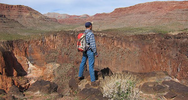 A sightseer gazes out at the desert scenery.