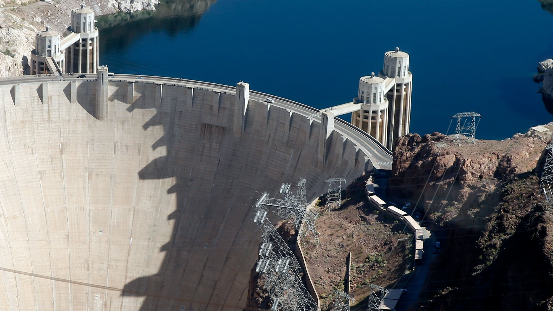 EC-130 helicopter flight by the Hoover Dam over Lake Mead