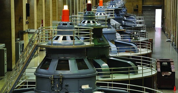 Interior view of the Hoover Dam Turbines