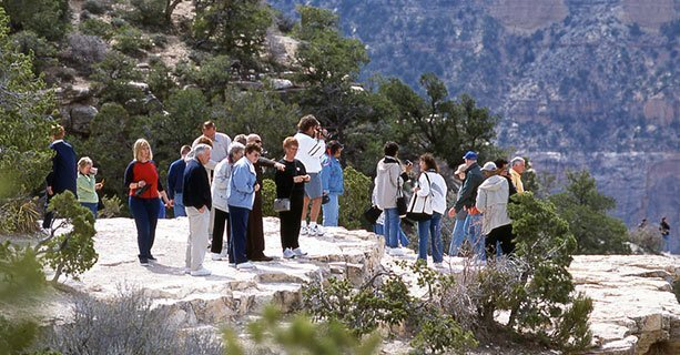 Guests enjoying a sunny day in Grand Canyon National Park