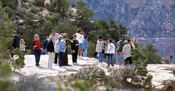 A group of Guests on a Sunny day on the South Rim of the Grand Canyon.'