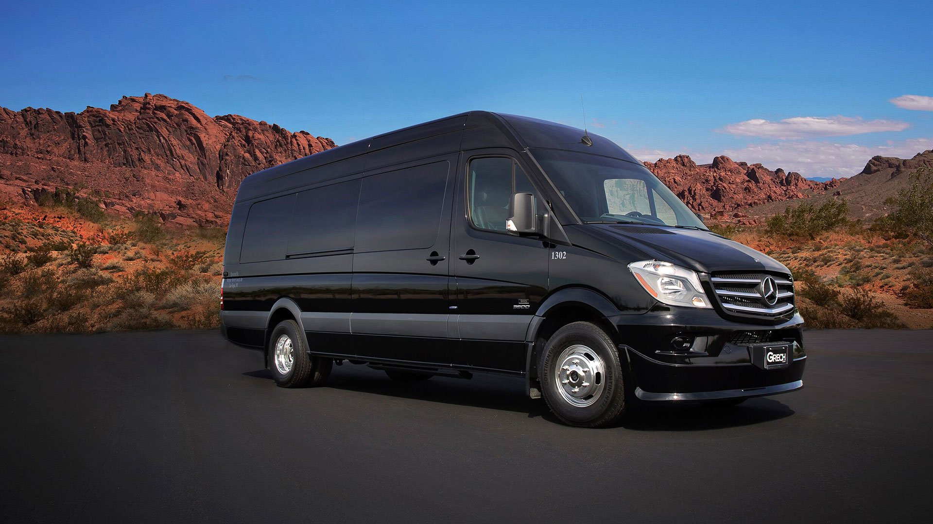 A Sprinter tour van in front of the Nevada Red Rock Canyon.