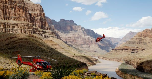 Two helicopters descend to the bottom of the Grand Canyon.
