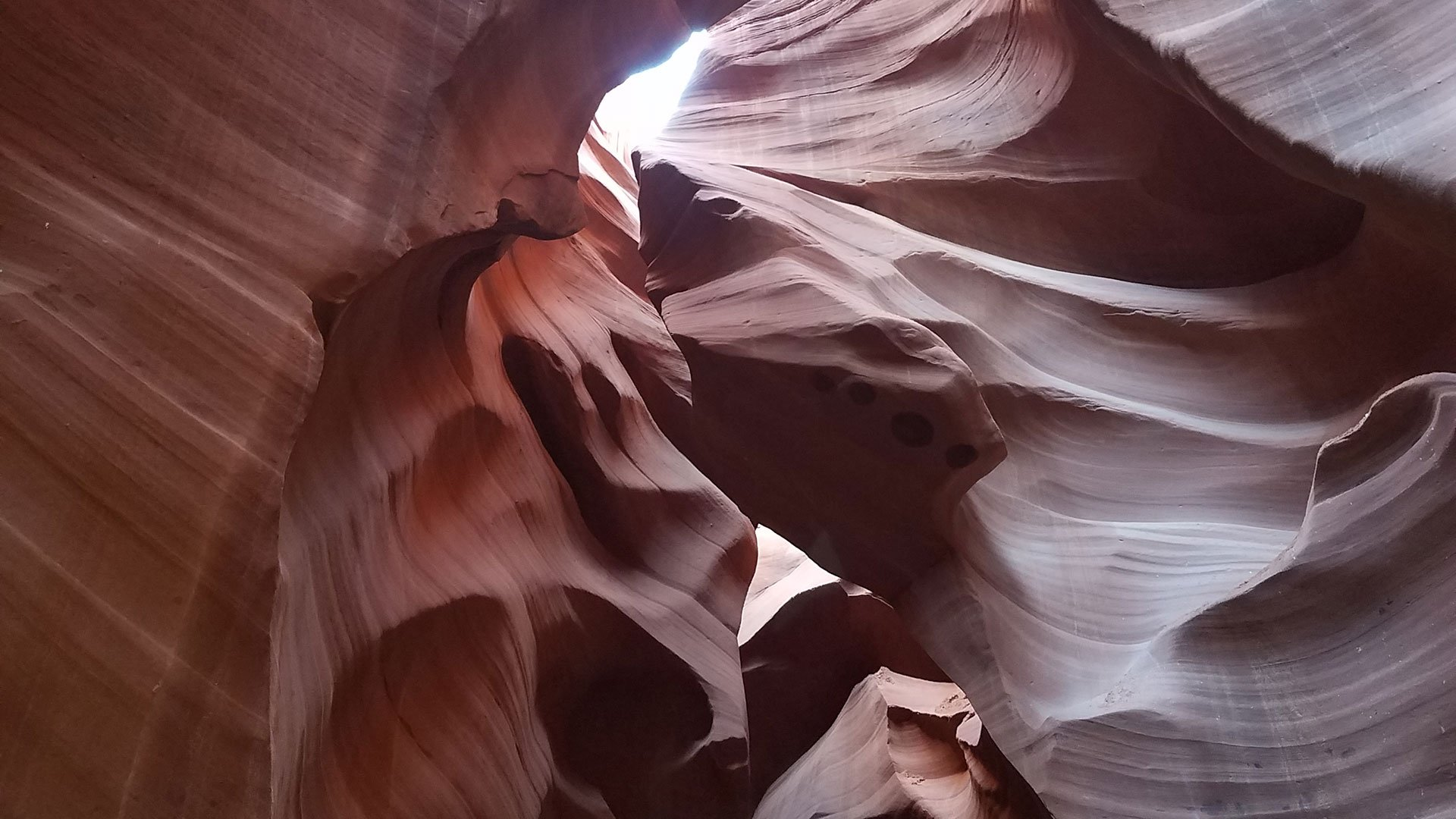 Twisting rock formations found within Antelope Canyon.