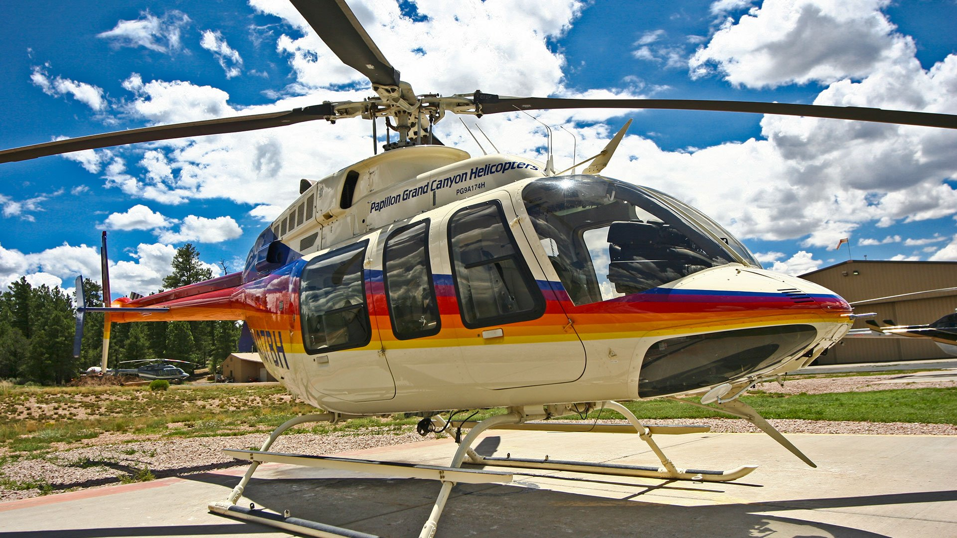Bell helicopter landed at the Papillon heliport in Grand Canyon National Park.