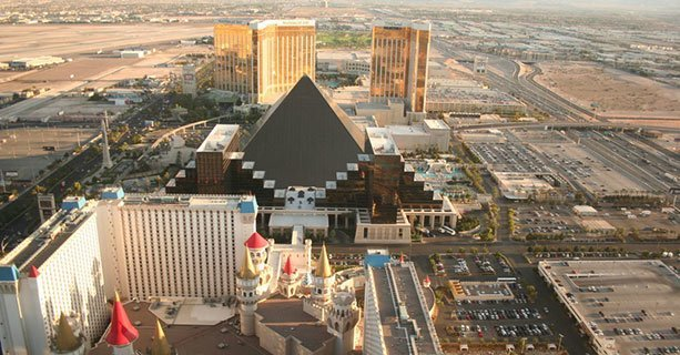 The Luxor Casino seen during a Las Vegas helicopter tour.