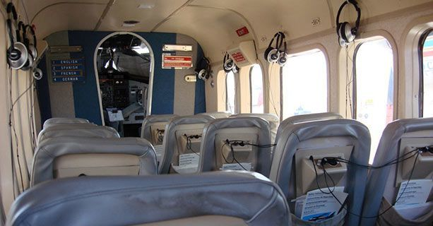 The cabin of a Twin Otter airplane.