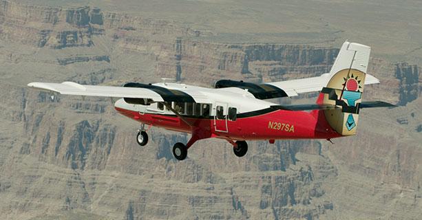 A Grand Canyon airplane tour midflight.