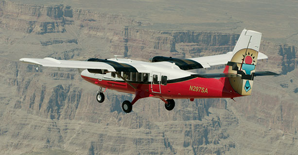 An airplane tour taking flight across the Grand Canyon National Park.