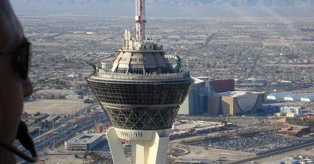 Aerial view of the Stratosphere from the front seat of an EC-130 helicopter.