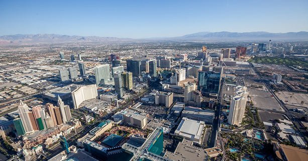 The Las Vegas Strip as seen from the sky.'
