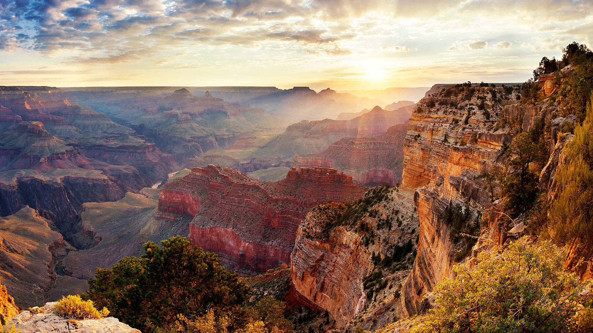 A sunlit section of the Grand Canyon National Park.