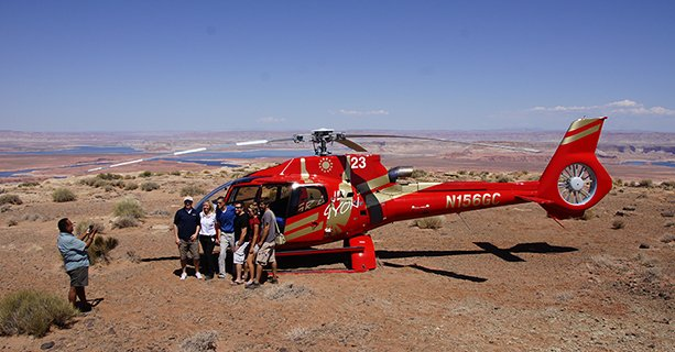 Helicopter tour landing at the top of Tower Butte.