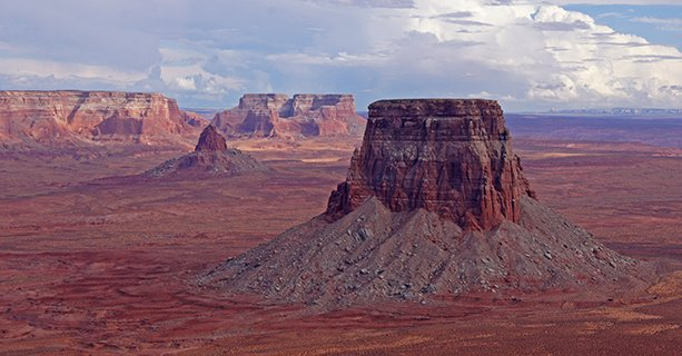 Tower Butte rising from the vast desert landscape.