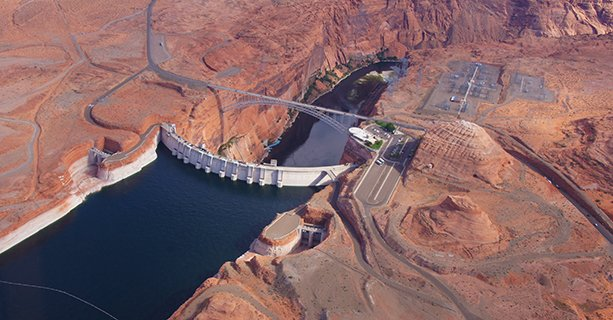 Glen Canyon Dam seen from above on a helicopter.