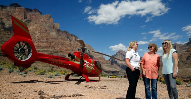 Two EC130 helicopters landed at the bottom of the Grand Canyon