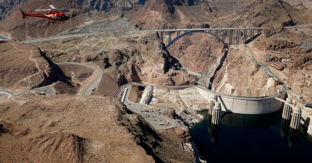 View of the Hoover Dam from a helicopter tour