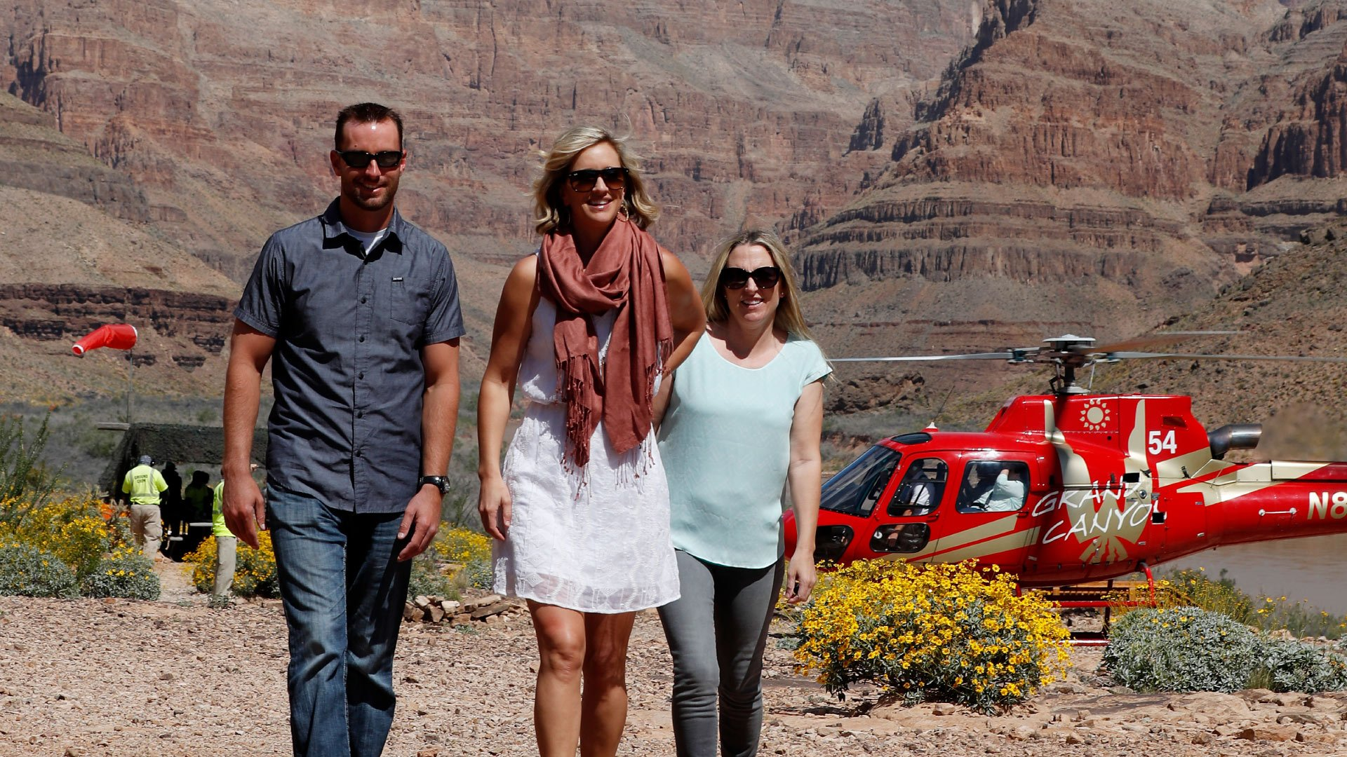 Two EC-130 helicopters landed at the bottom of the Grand Canyon