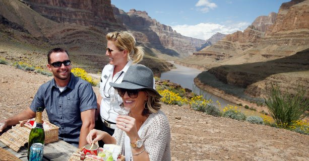 Guests having a picnic lunch at the bottom of the Grand Canyon